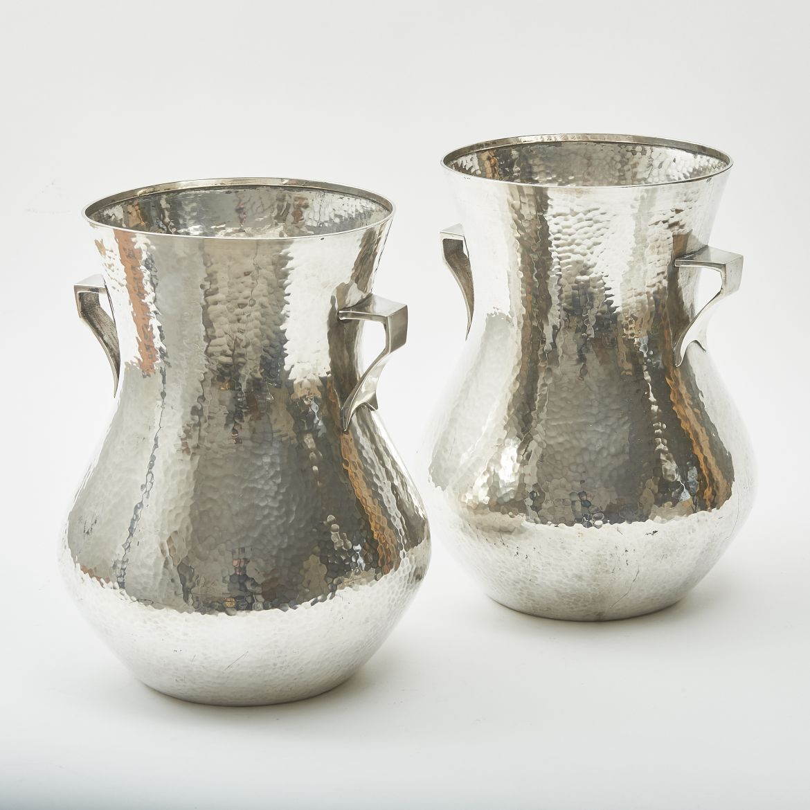 """Pair """"Hammered"""" Silver Vases"""