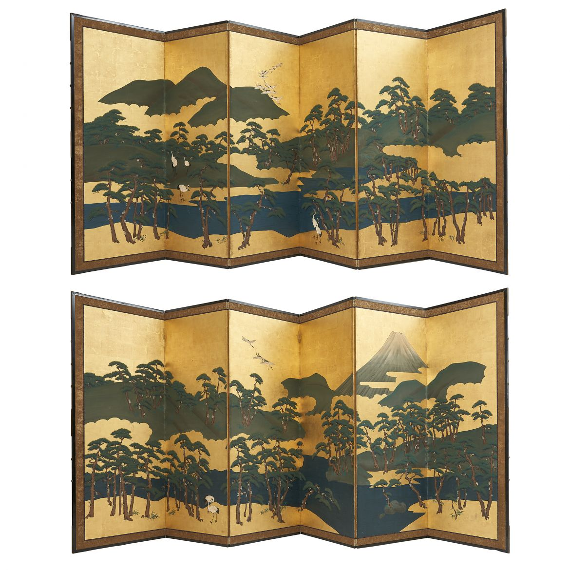 Pair Six Fold Screens with Pine Trees