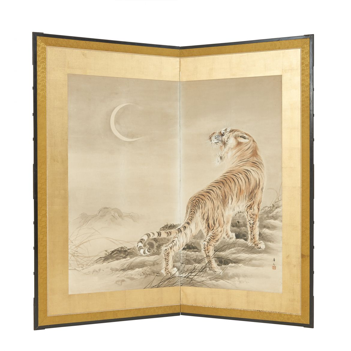 Painted Screen with a Tiger
