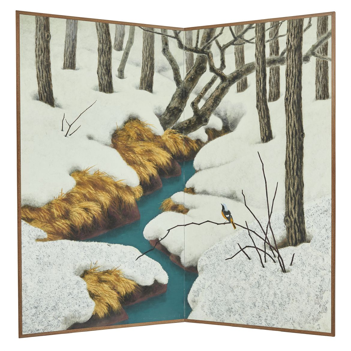 Painted Screen of Snow Covered Forest