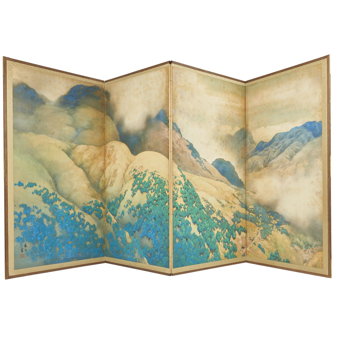 Large Four Fold Japanese Screen