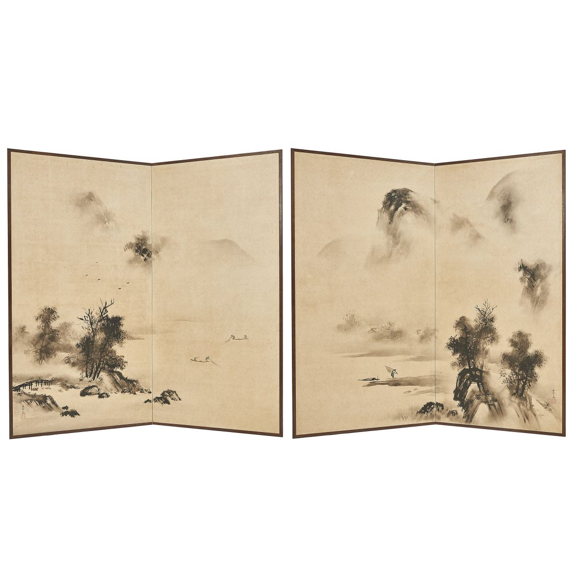 Pair of Painted Screens With Fishermen