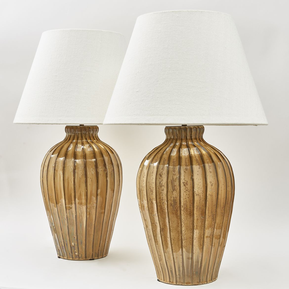 Pair of Ribbed Porcelain Lamps