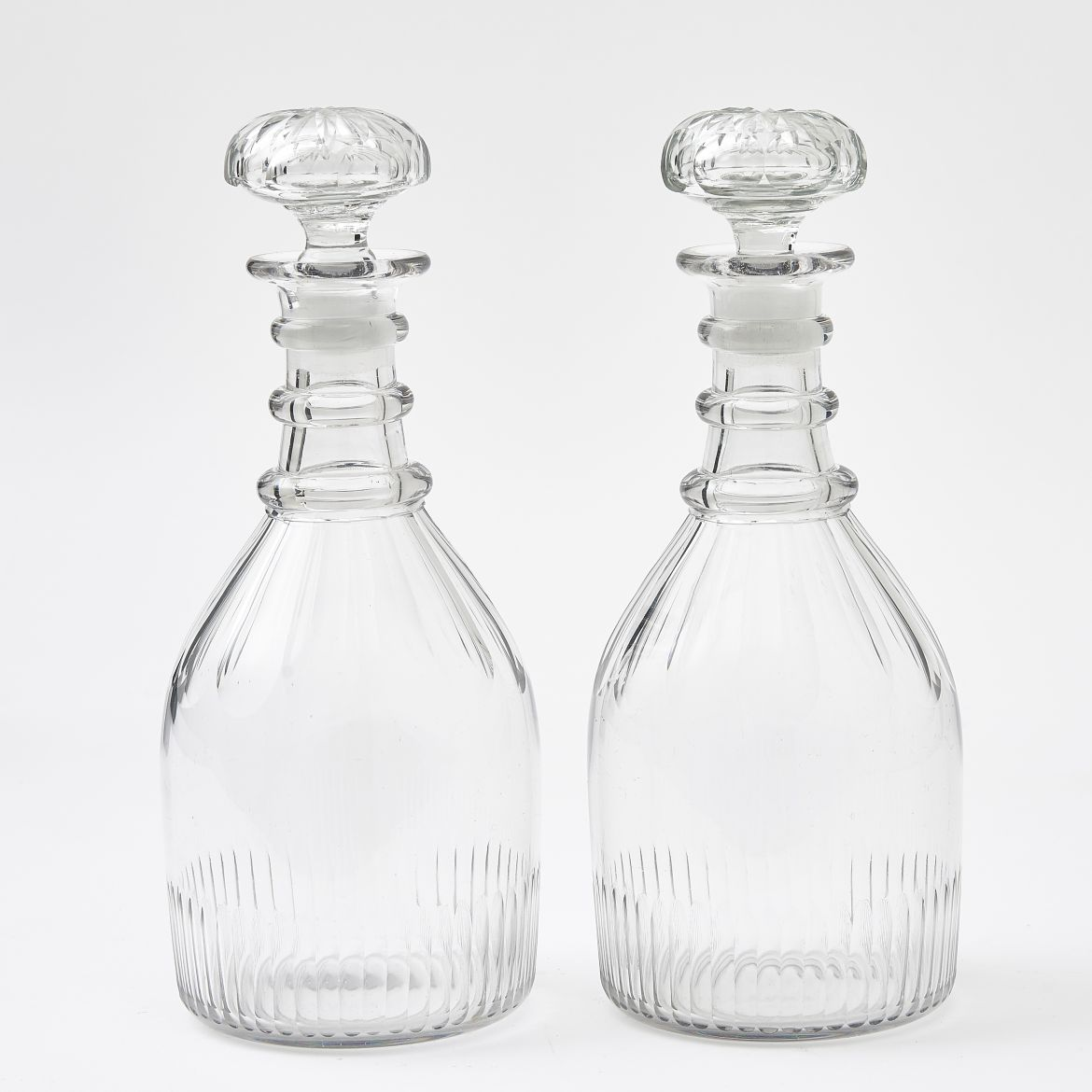 Pair Late Regency Crystal Decanters