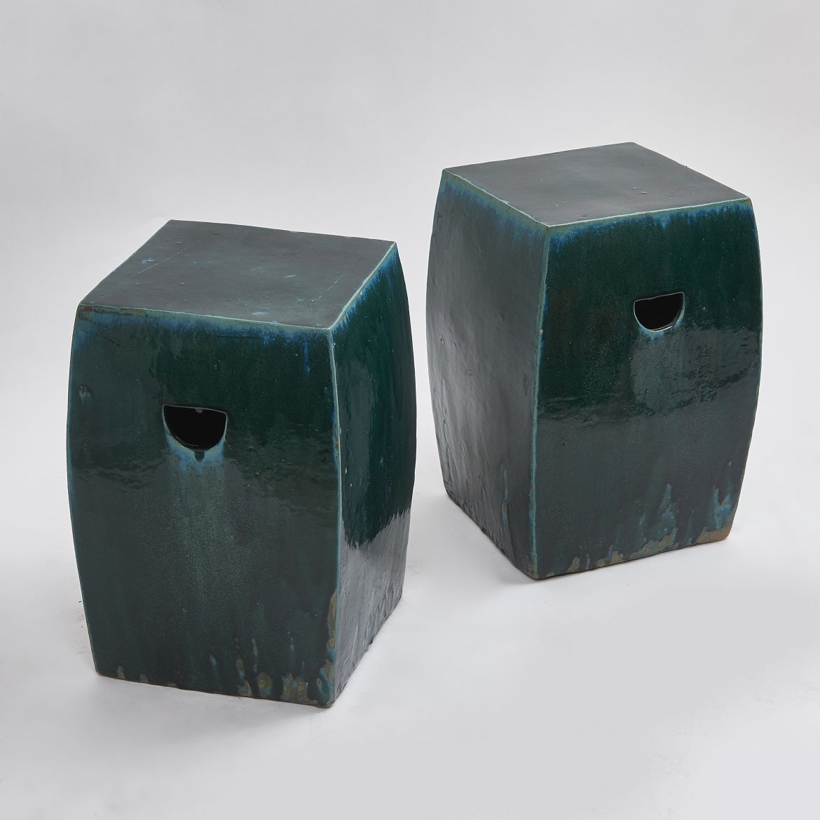 Pair of Chinese Green Square Stoneware Stools