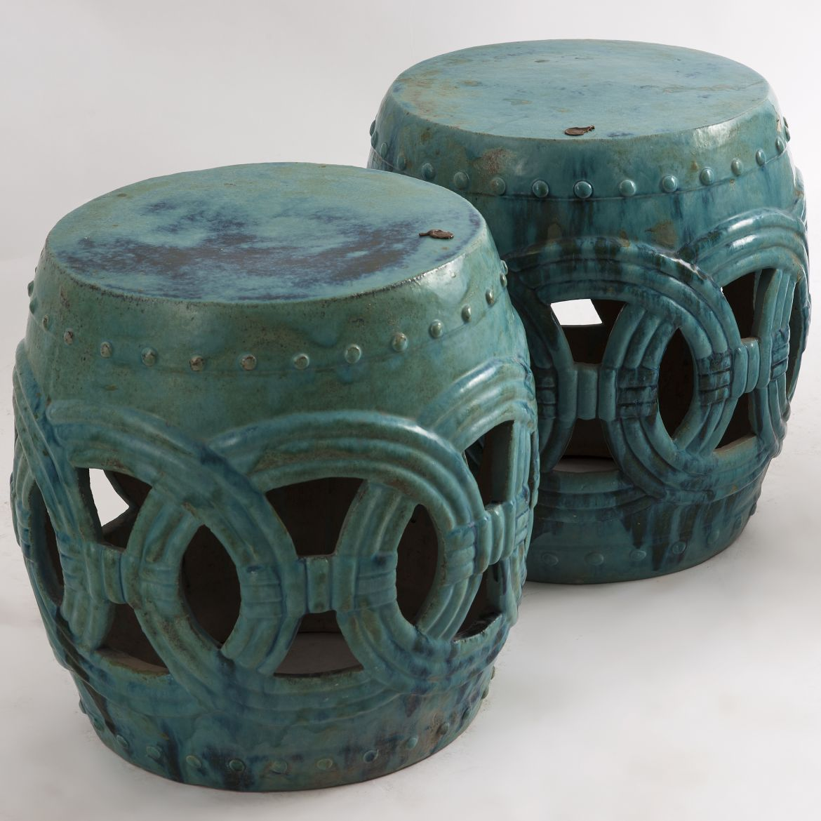 Green Glaze Barrel Stools