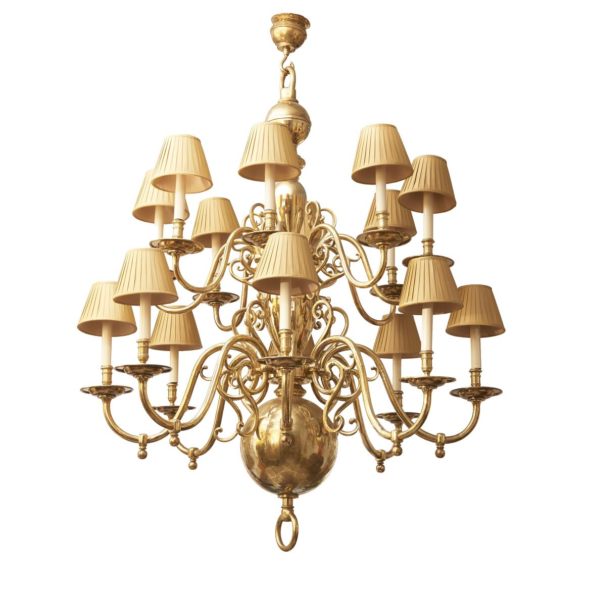 Large Dutch Brass Chandelier