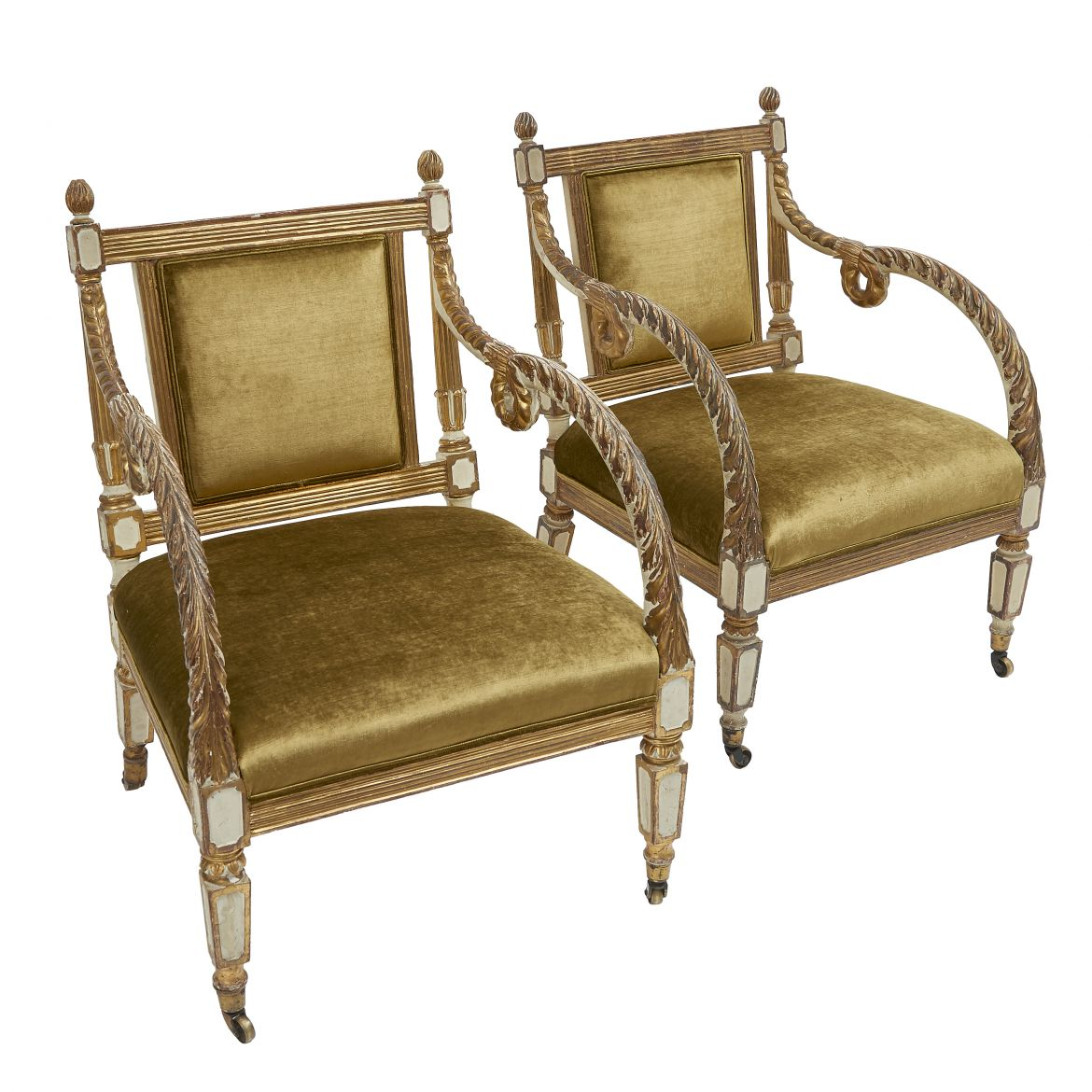 Pair Green Armchairs