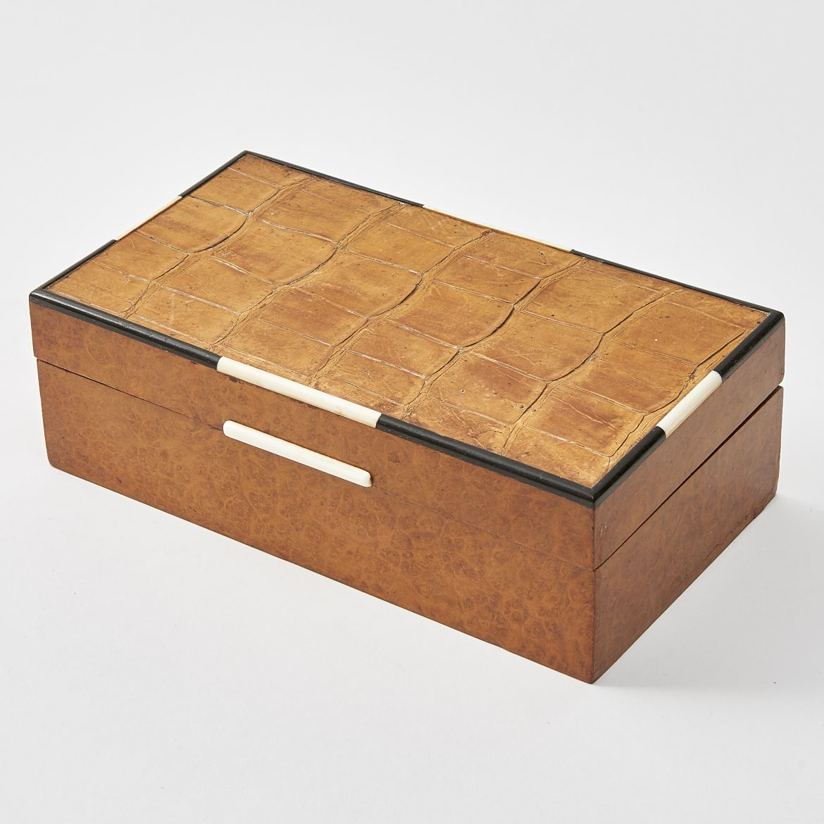 Amboyna & Crocodile Skin Cigarette Box