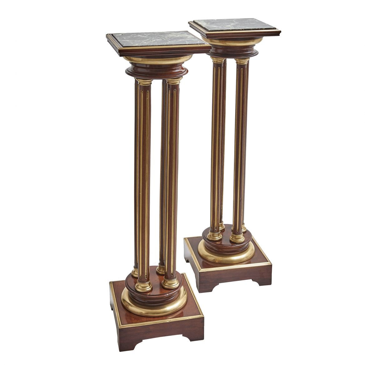 Pair Neoclassical Mahogany Stands