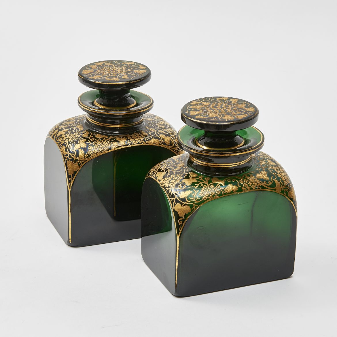Pair Green Glass Scent Bottles