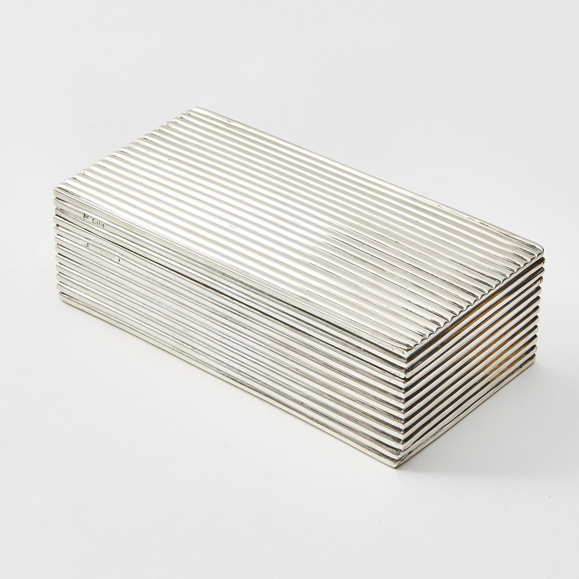 Silver Ribbed Cigarette Box