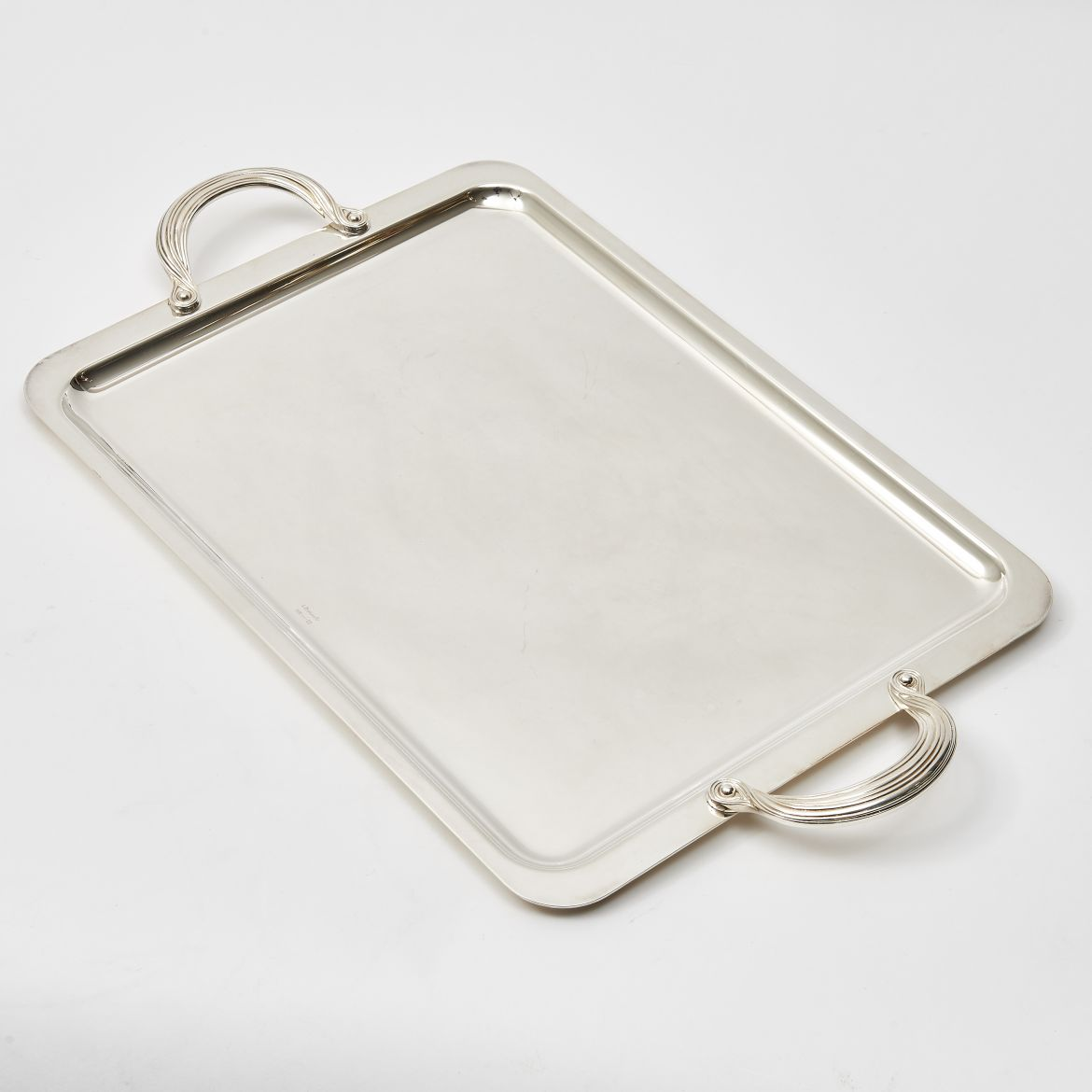 Silver Plate Tray With Ribbon Handles