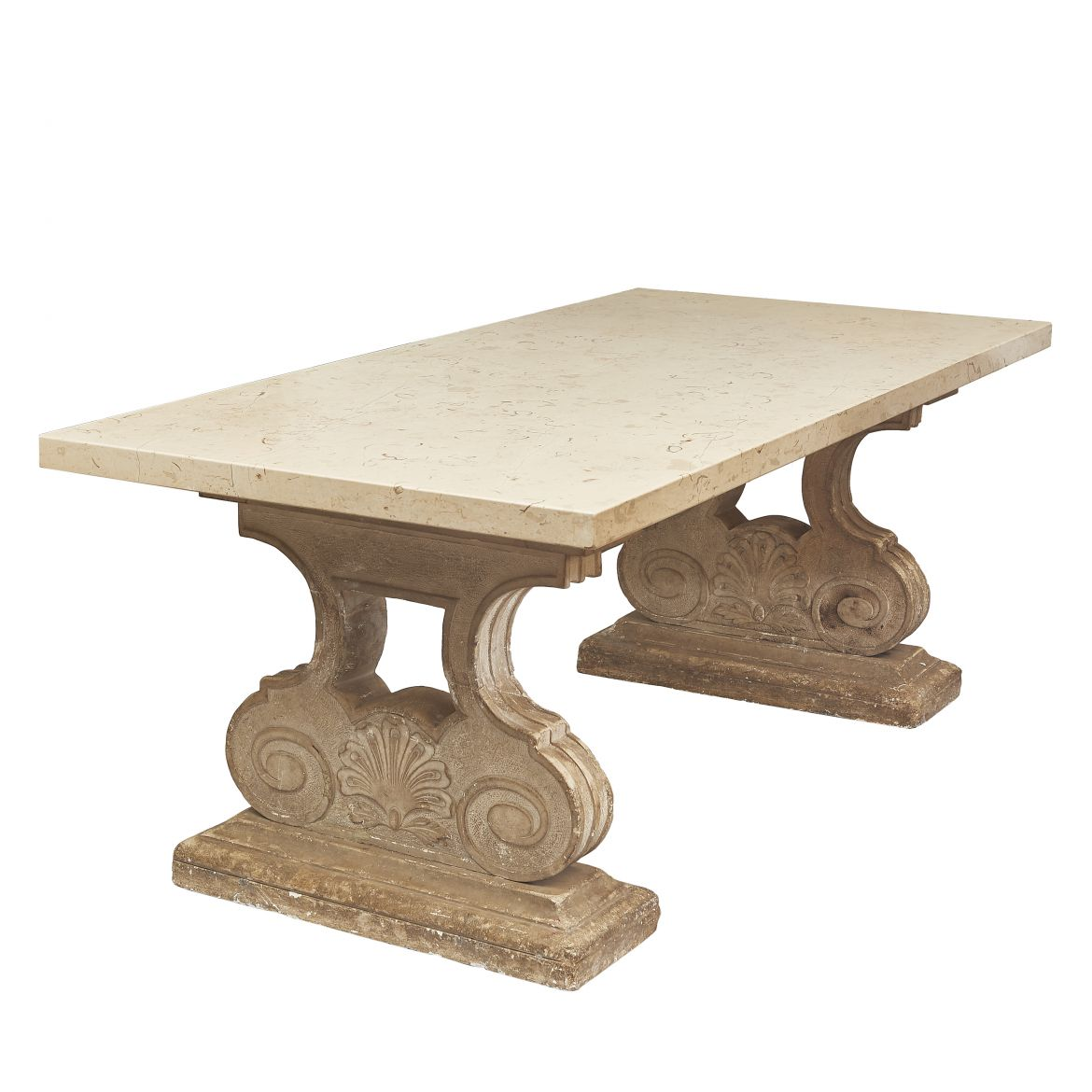 Marble Topped Table with Stone Base