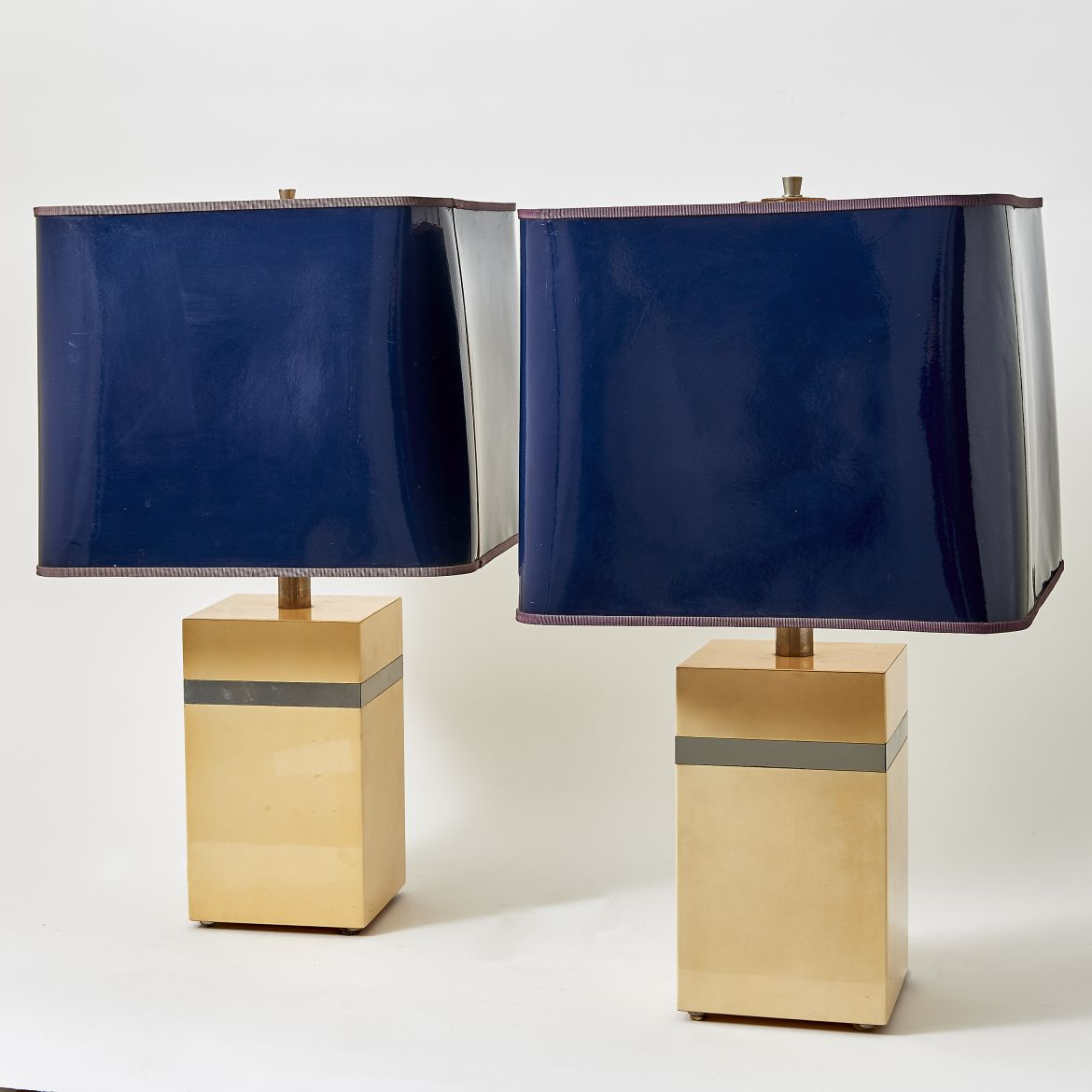 Pair Square Parchment Lamps