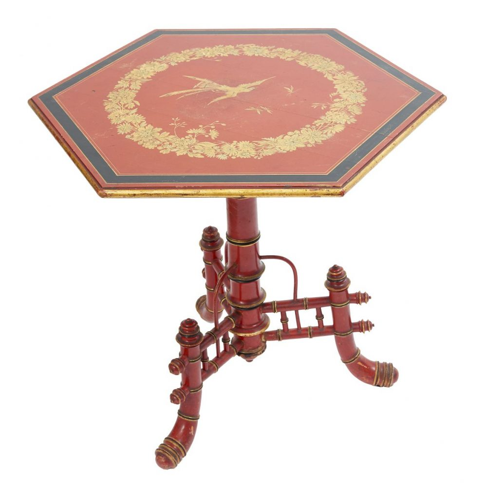 Louis Philippe Red Lacquered Table