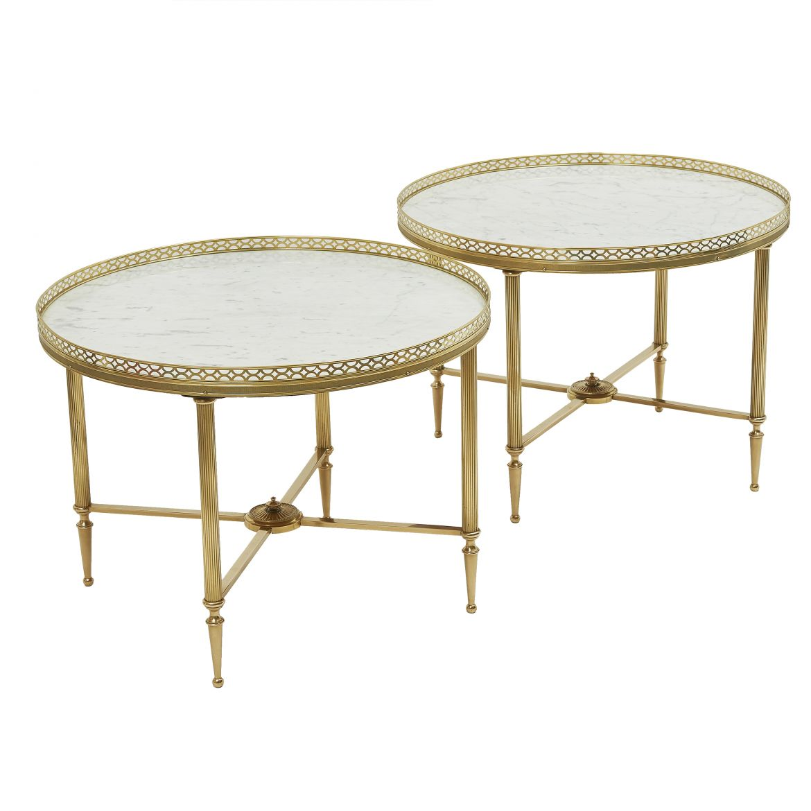 Pair Brass & Marble End Table