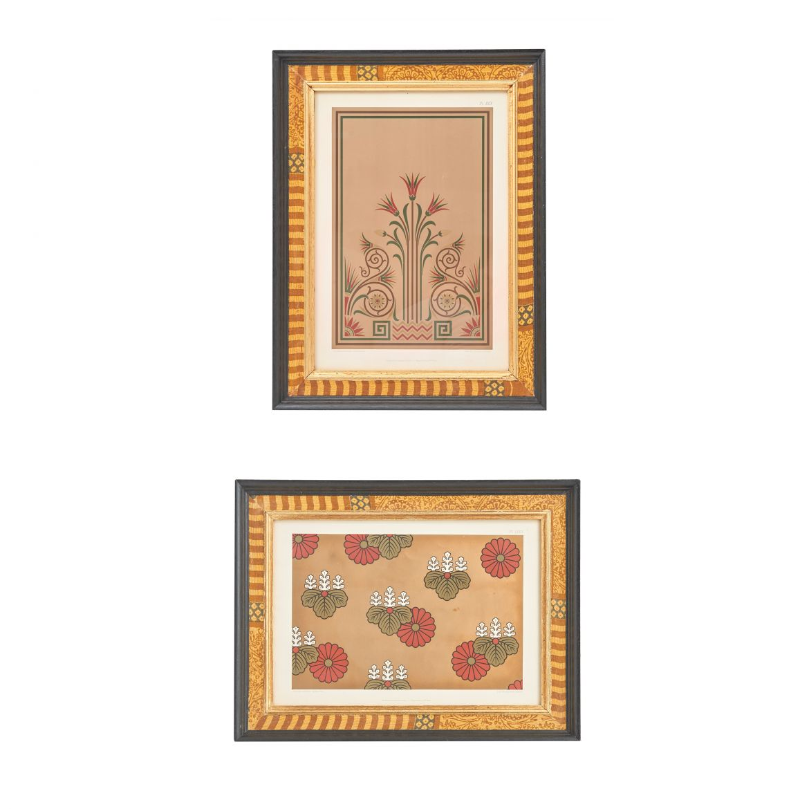 Pair Gold Tone Decorator Lithographs