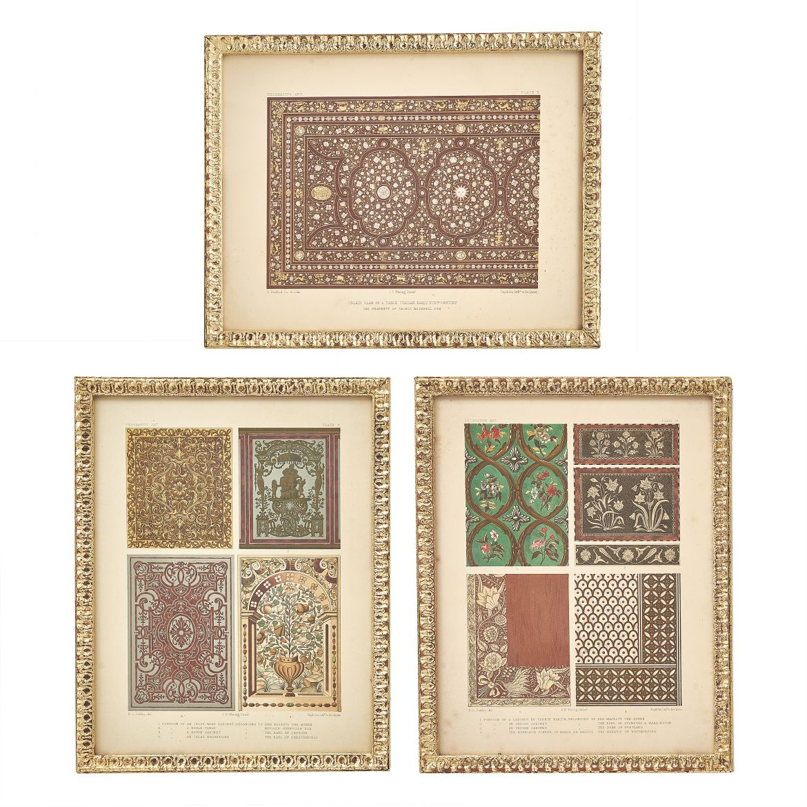 Set of Minton Tile Design Lithographs