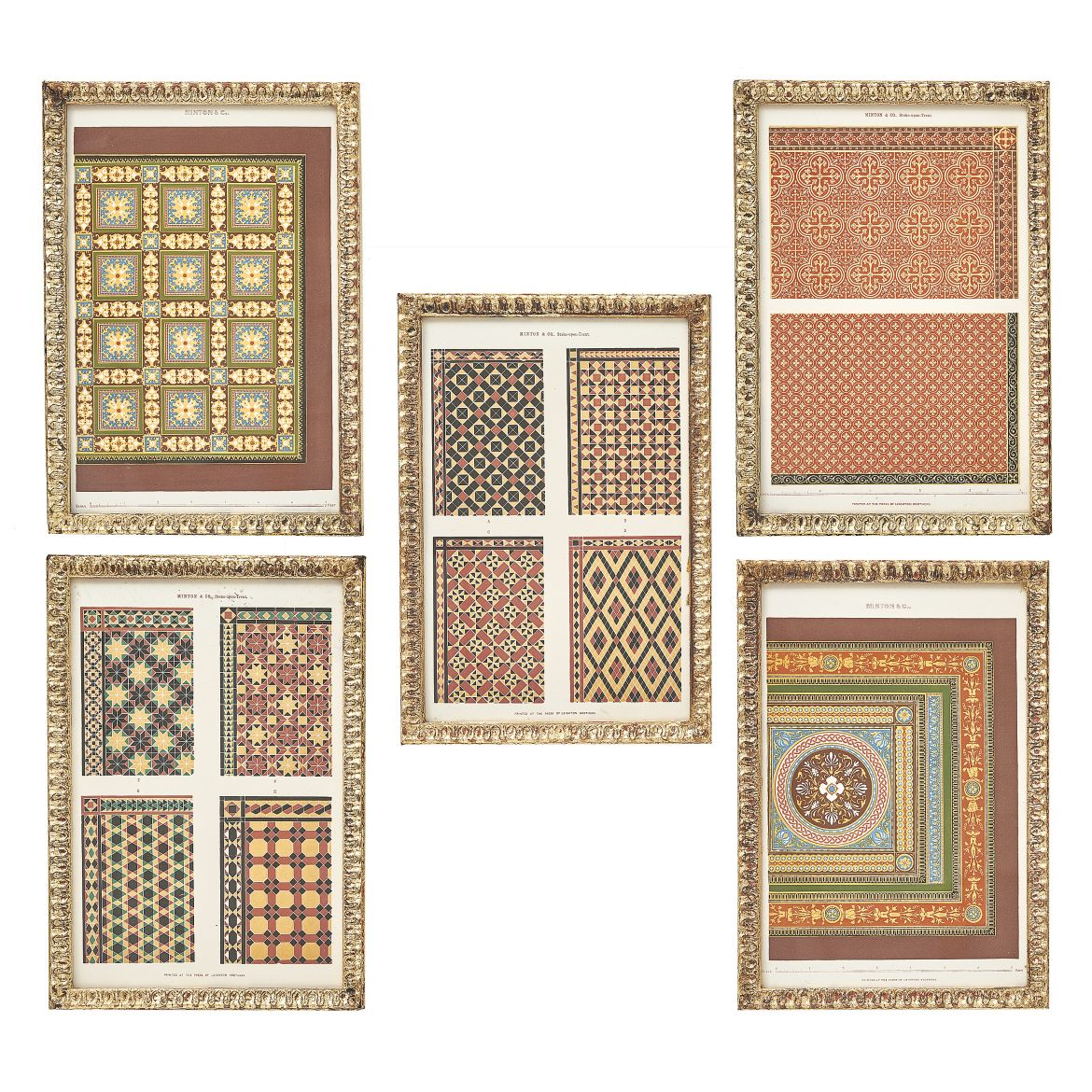 Set of Five Tile Design Lithographs