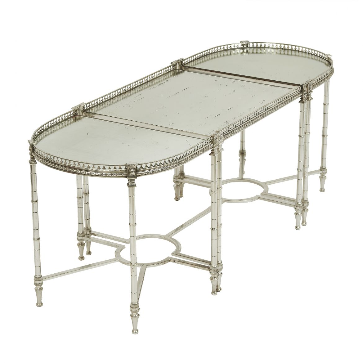 Silvered Bronze & Mirrored Place Surtout Table