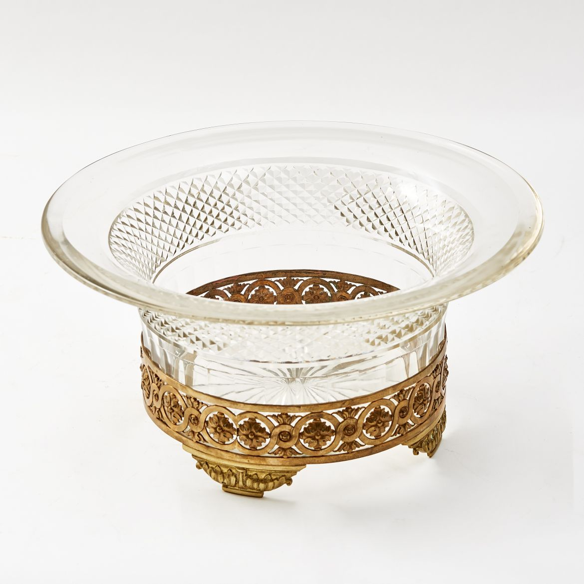 Ormolu Mounted Cut Crystal Bowl