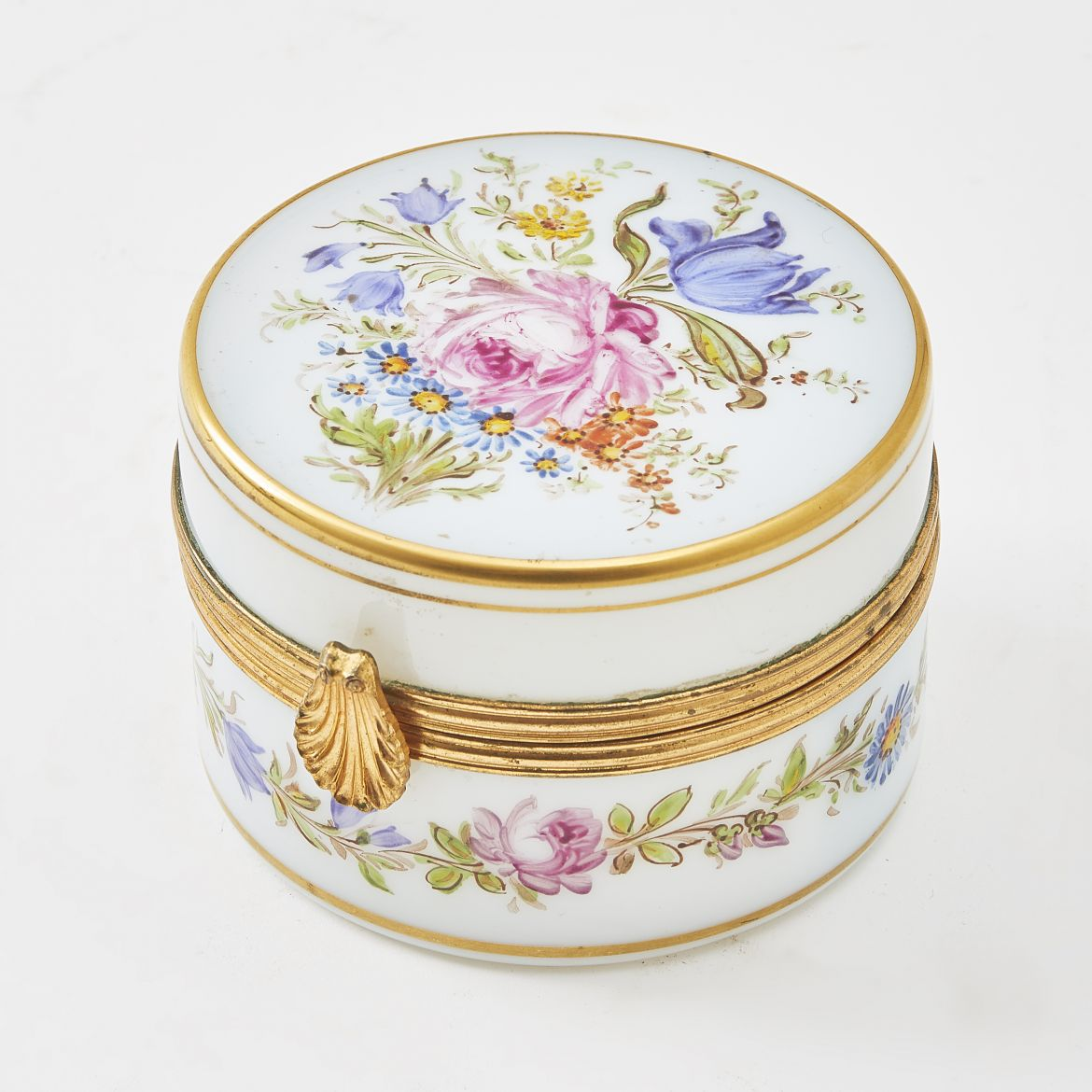 French Floral Opaline Glass Box