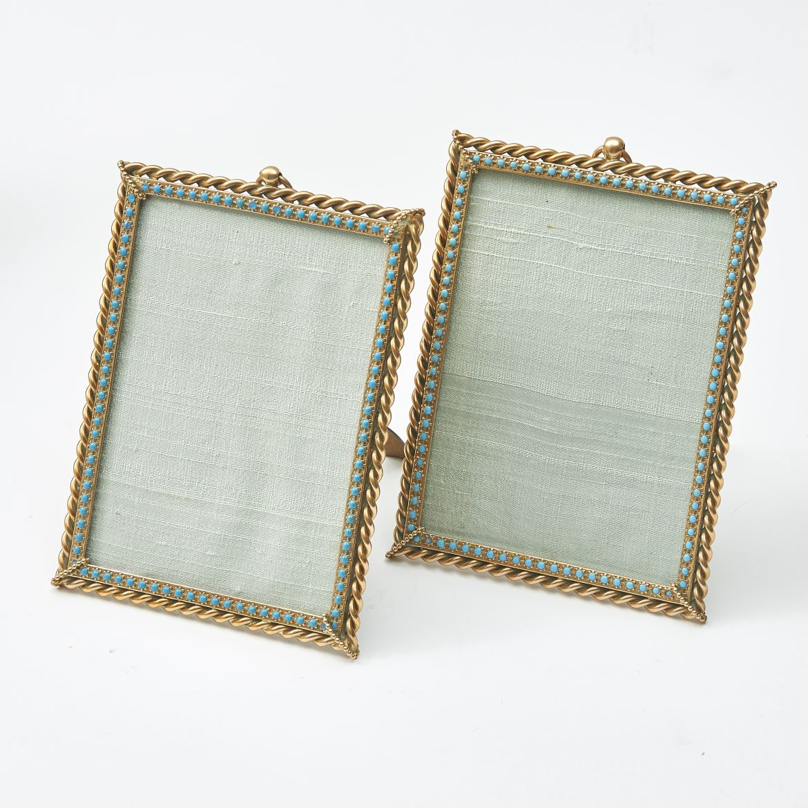 Pair Turquoise Inlaid Frames