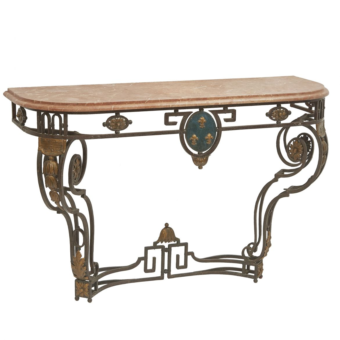 French Wrought Iron Console Table