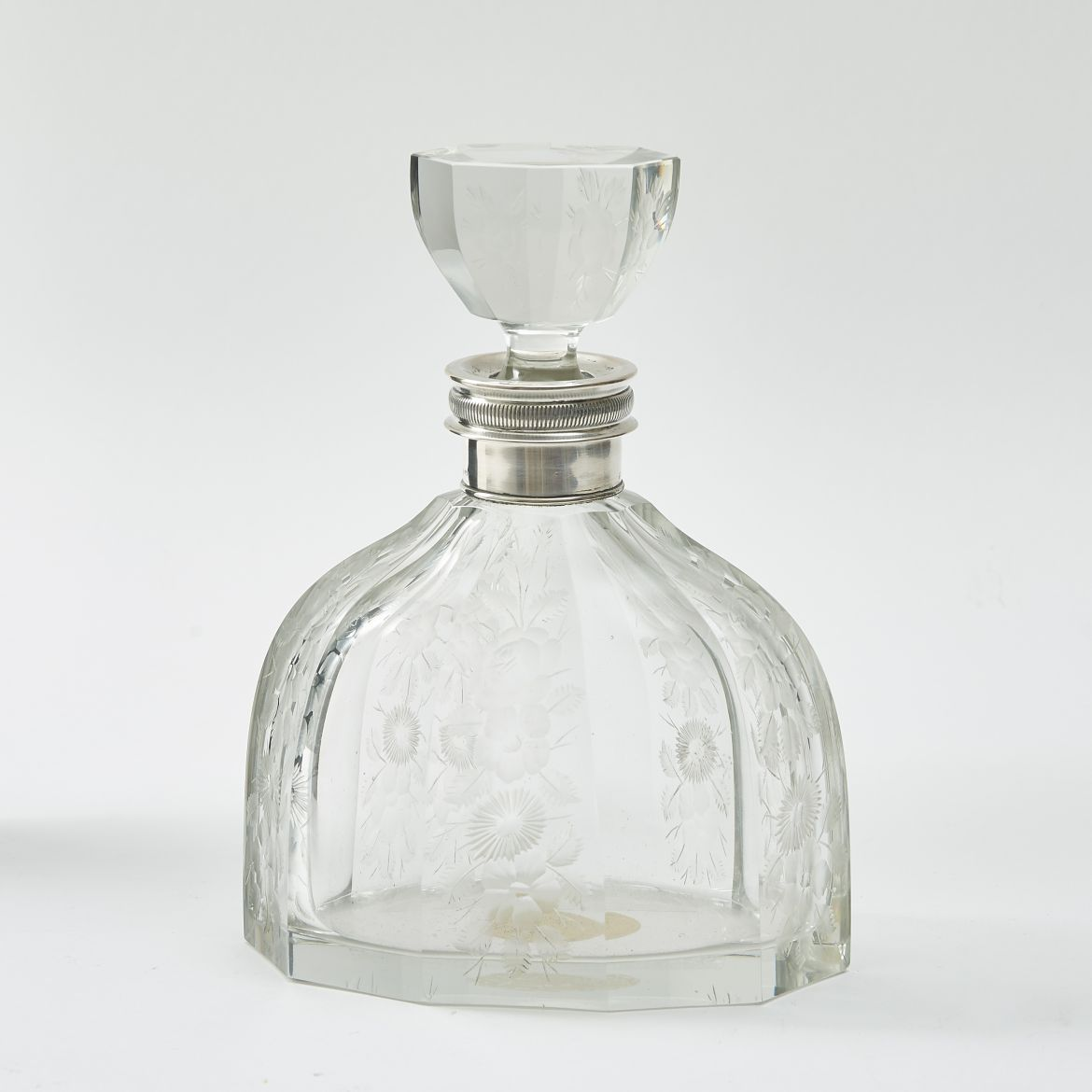 Art Deco Floral Engraved Crystal Decanter