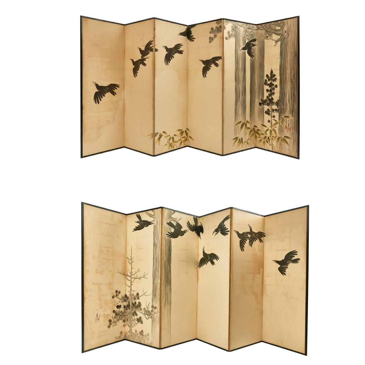 Japanese Screens With Flying Crows