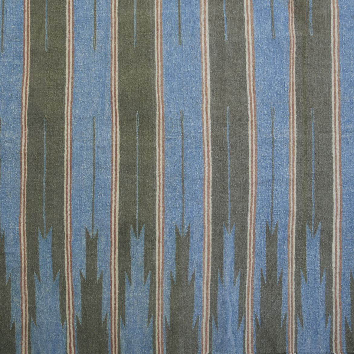 Pale Blue, Green & Grey Striped Dhurrie