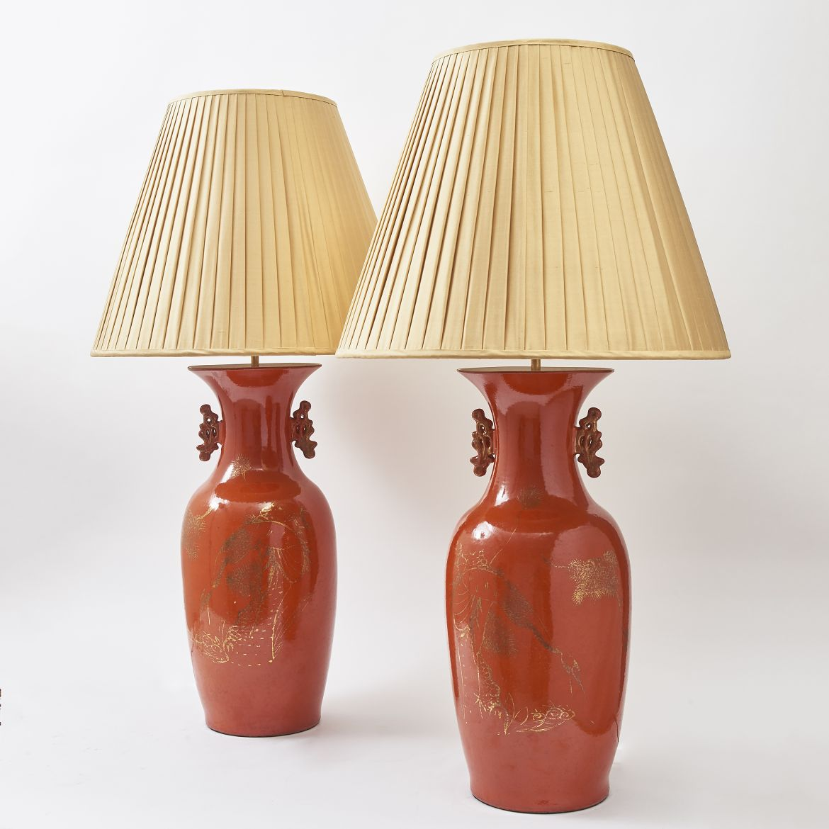 Pair Chinese Orange Glaze Lamps