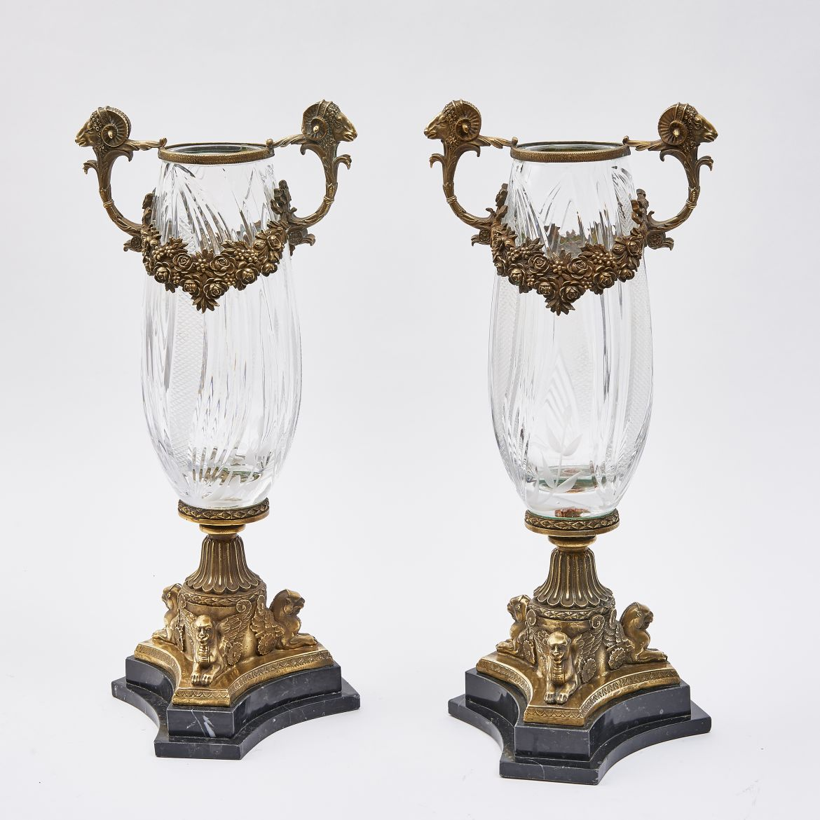 Neo Classical Cut Crystal Vases