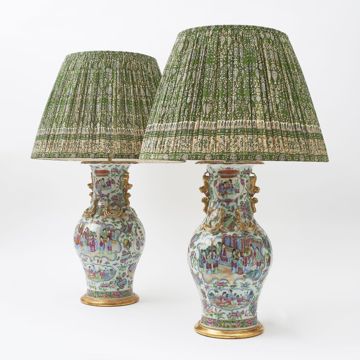 Pair Chinese Famille Rose Lamps