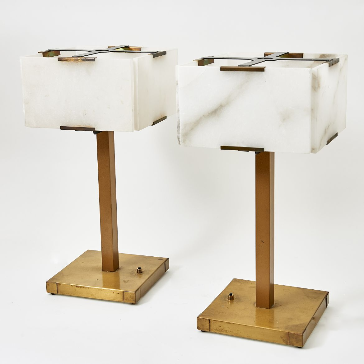 Pair Table Lamps With Alabaster Shades