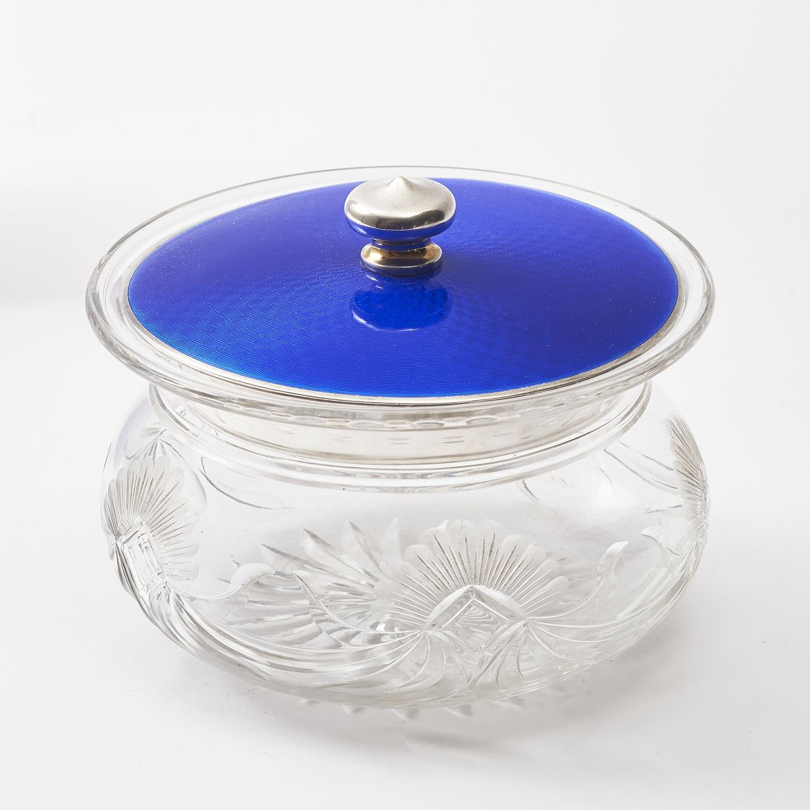 Large Cut Crystal Powder Pot
