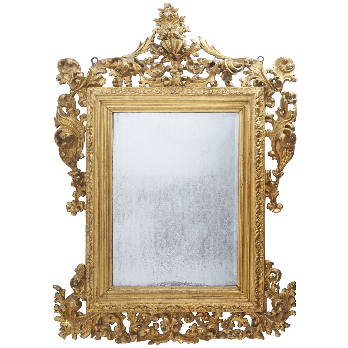 Italian 18th Century Carved Giltwood Mirror