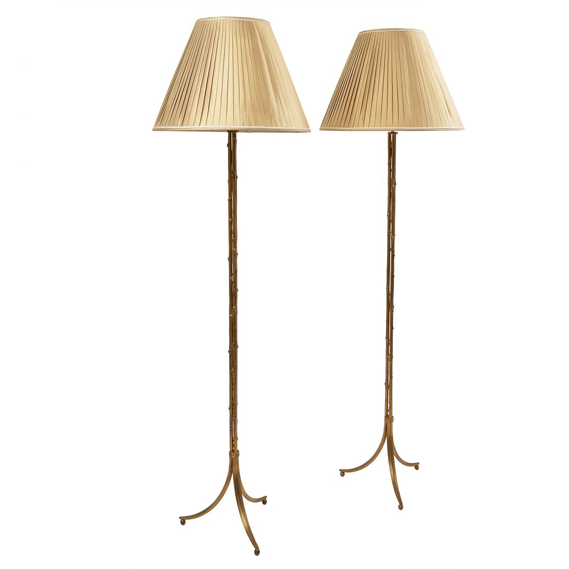 Pair Triform Base Standard Lamps