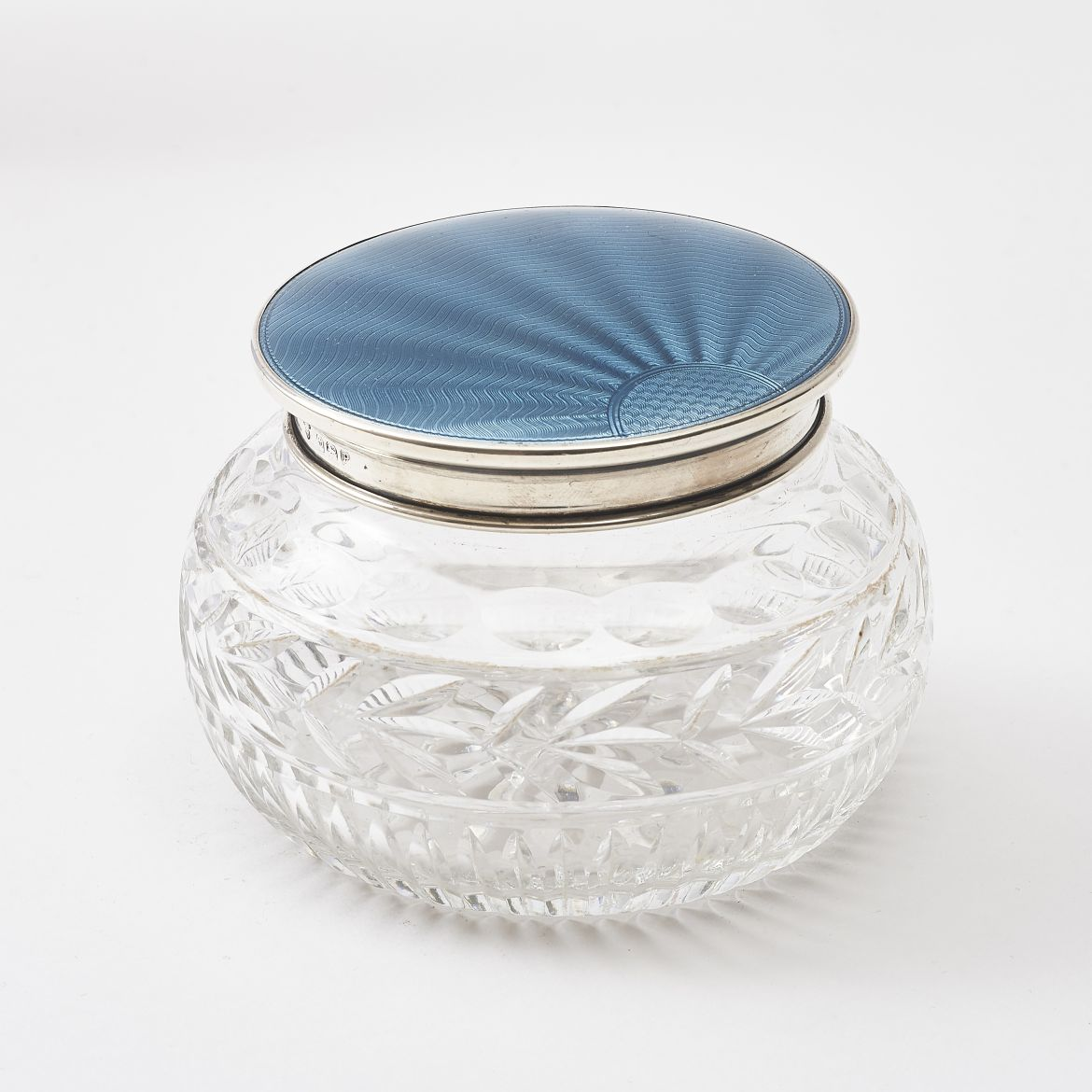 Blue Guilloche Enamel Powder Pot