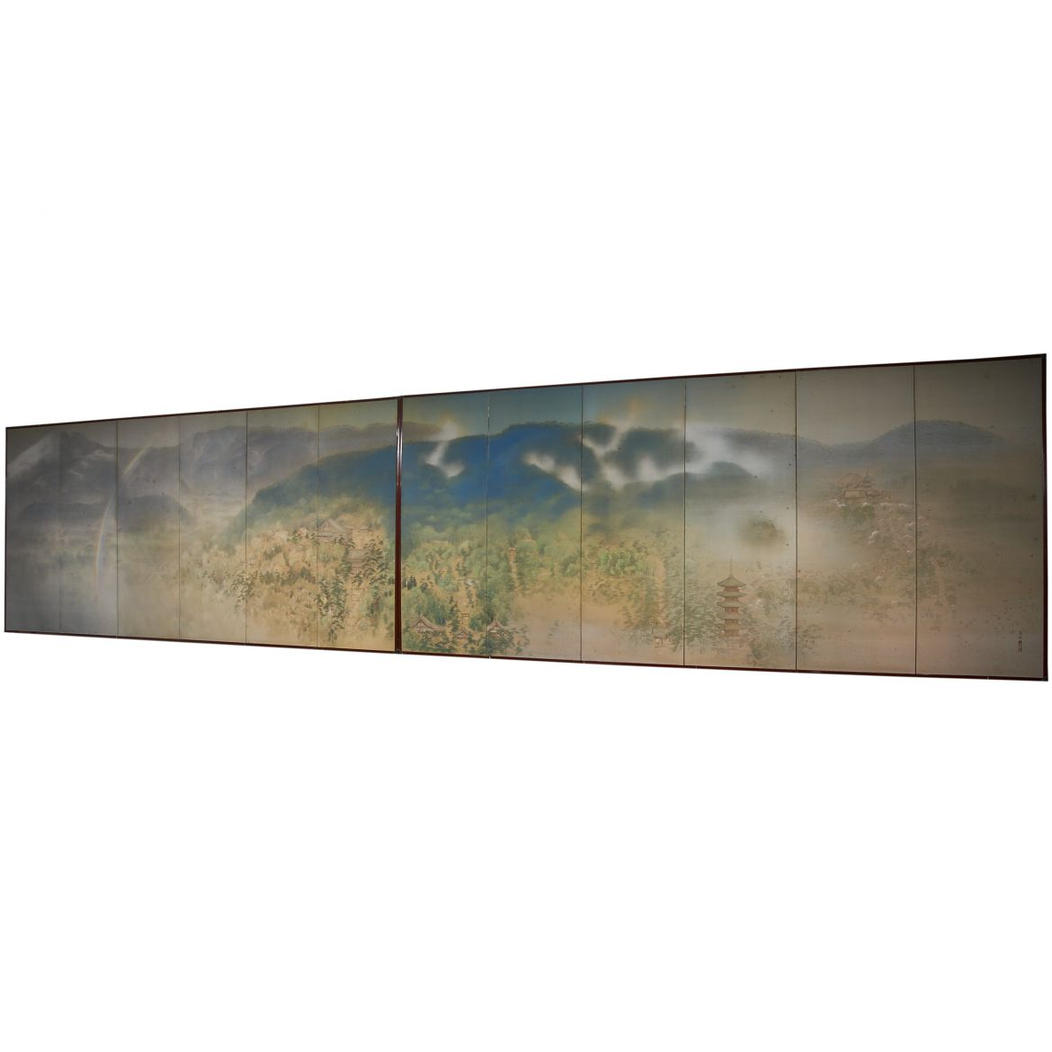 Pair Japanese Screens Of Landscape