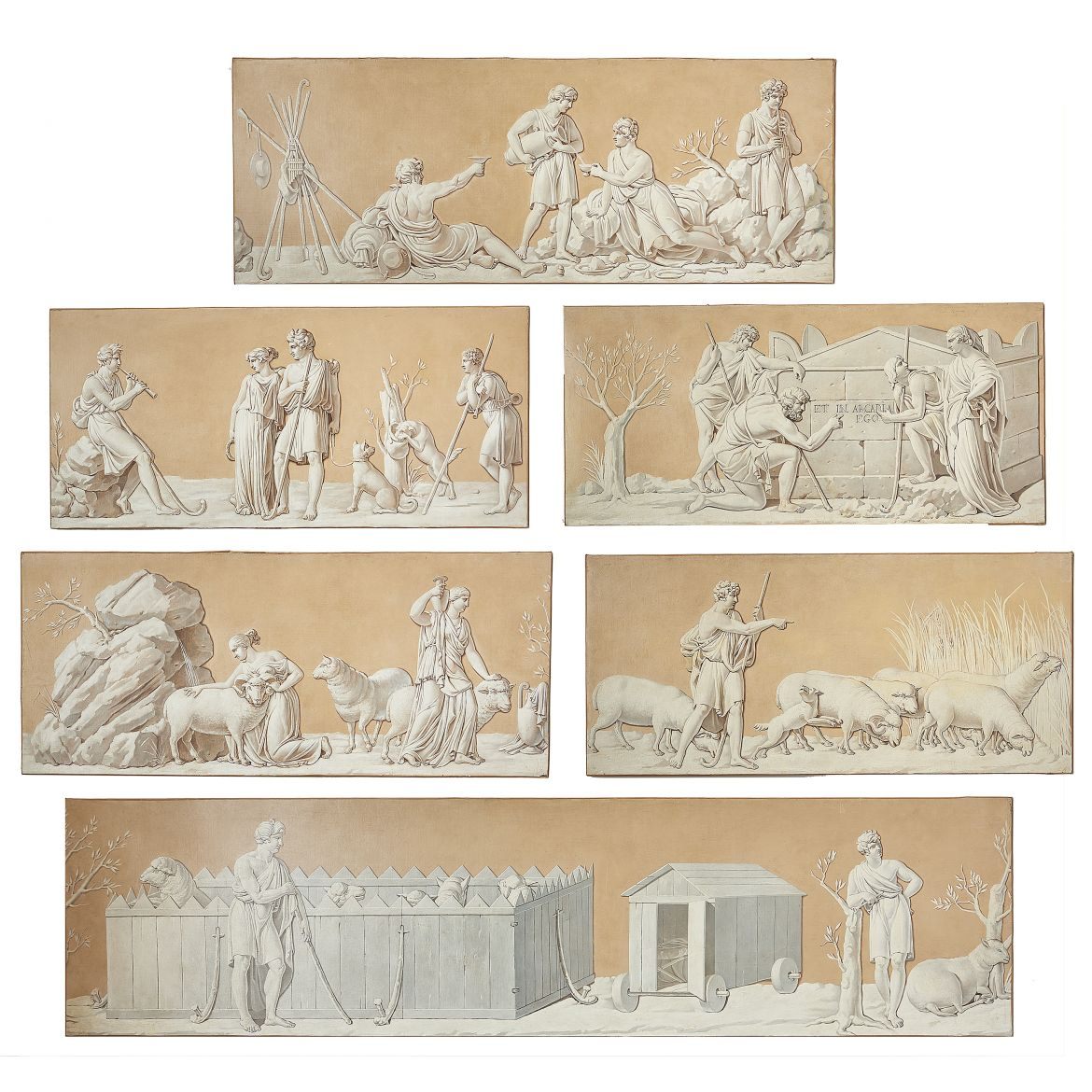 "Six French 19th Century 'En Grisaille"" Paintings"