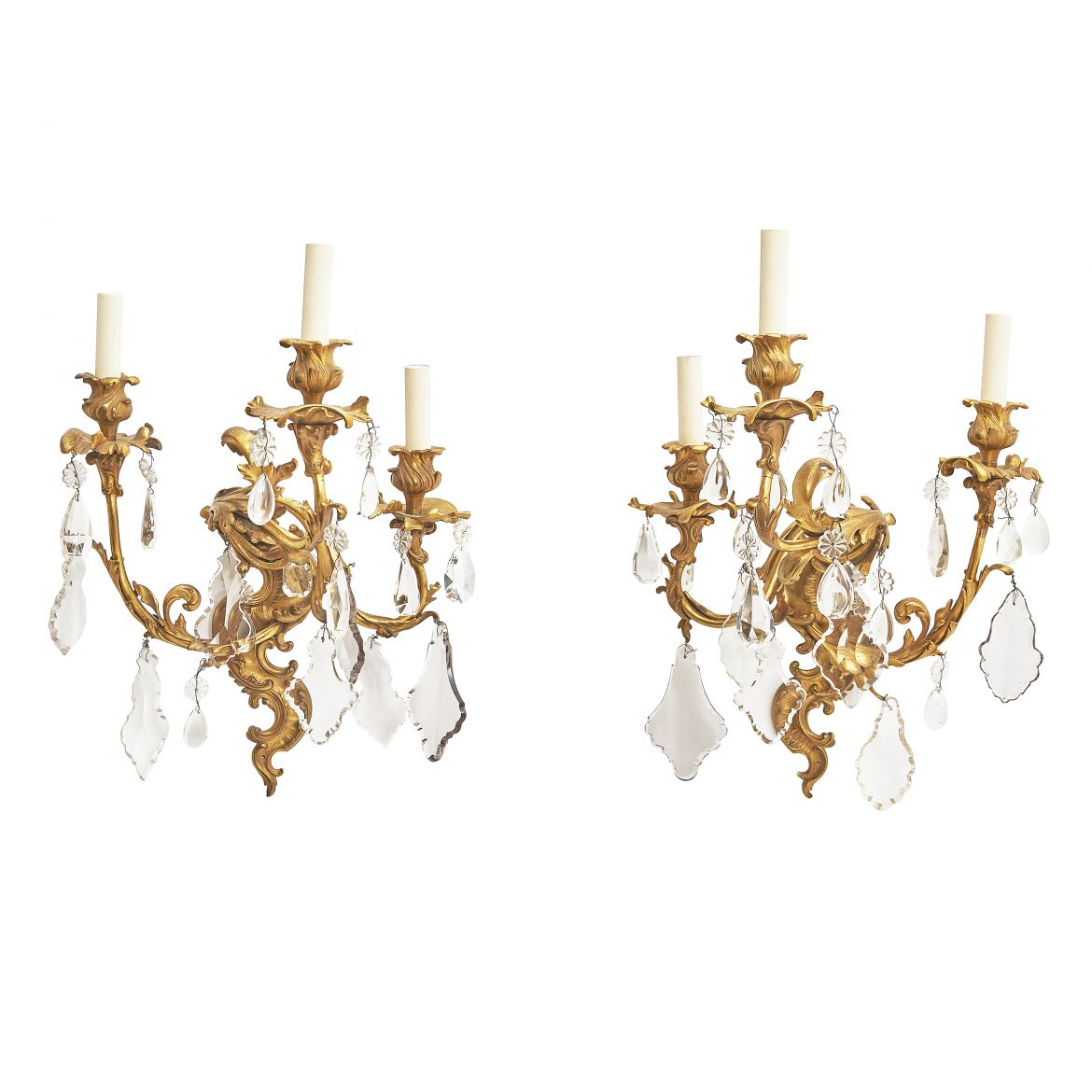 Ormolu  & Crystal Drop Wall Lights