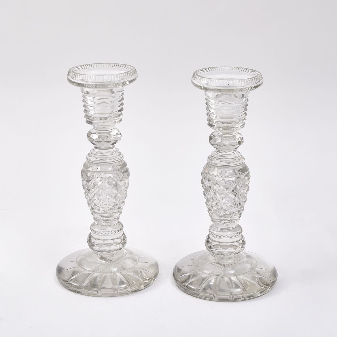 English Cut Crystal Candlesticks