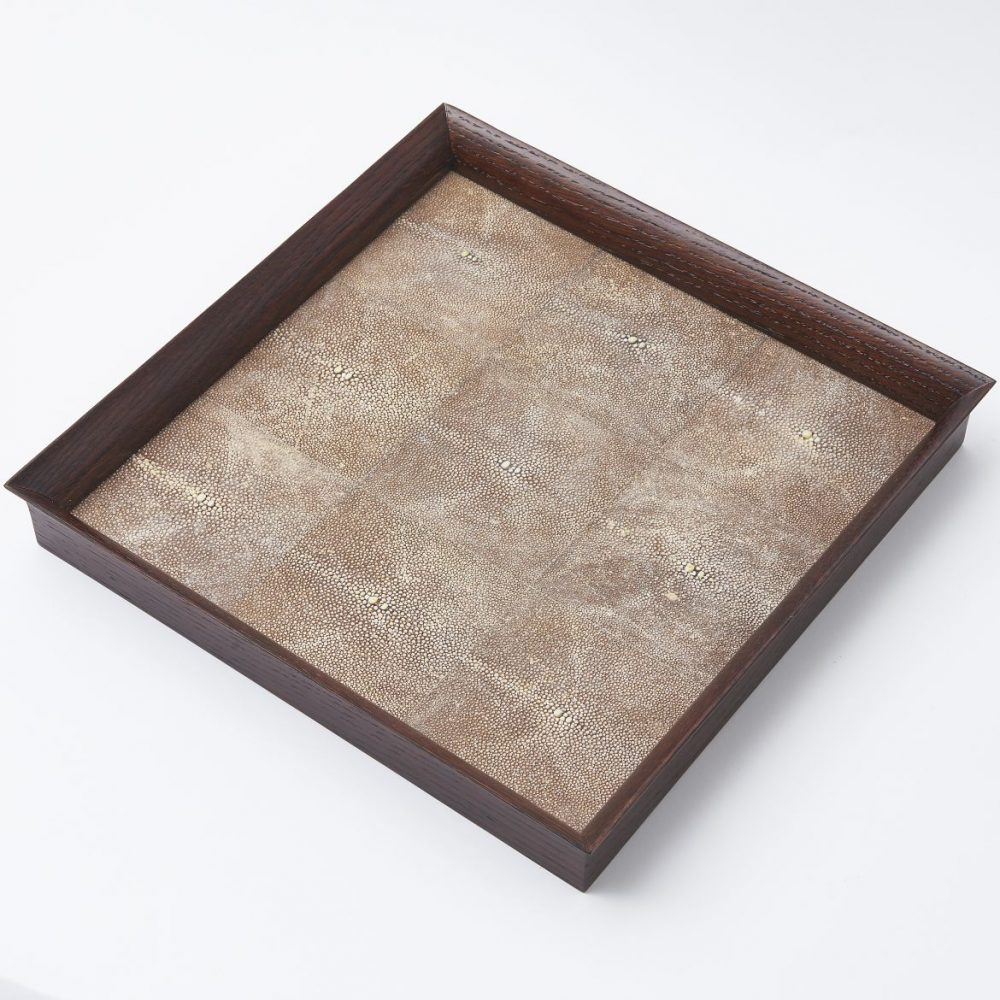 Tray With Brown Shagreen Panels