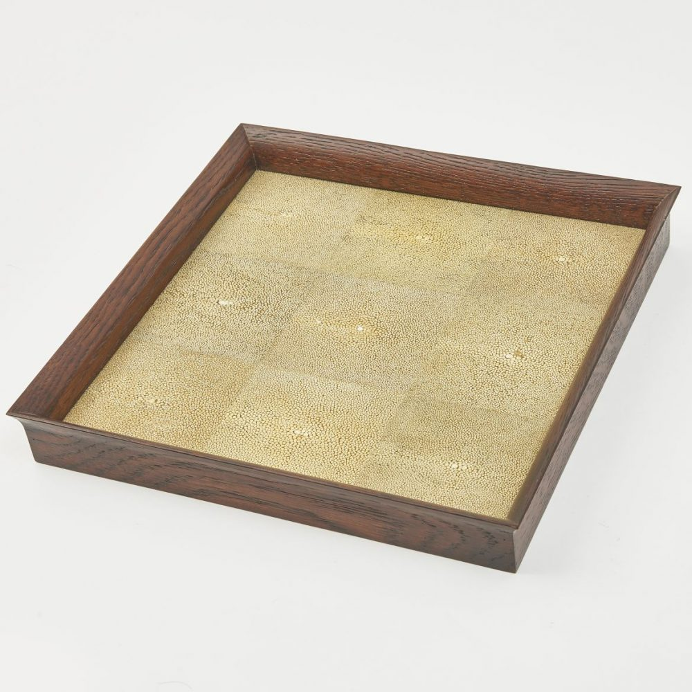 Tray With Green Shagreen Panels