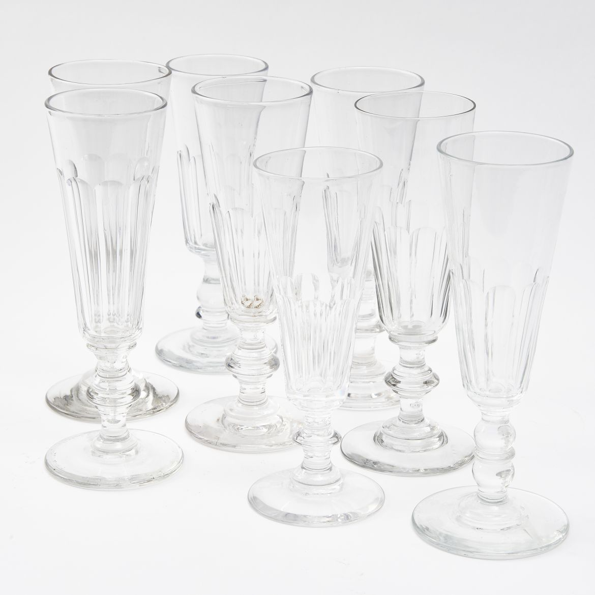 Eight Harlequin French Champagne Flutes