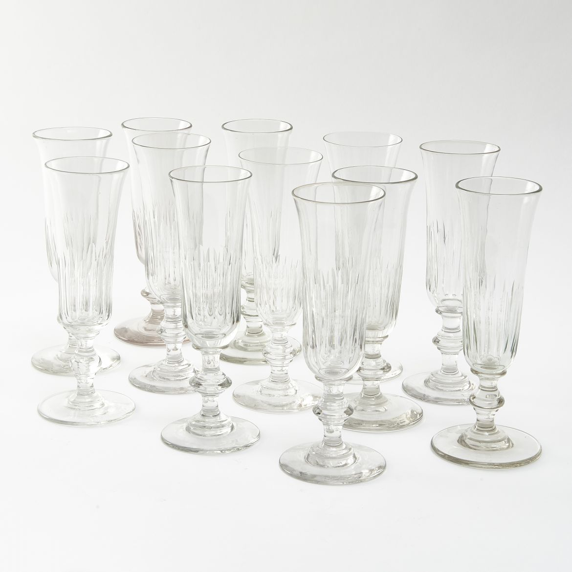 Twelve French Champagne Flutes