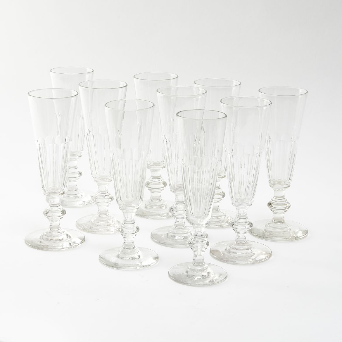 Ten Georgian Crystal Champagne Flutes