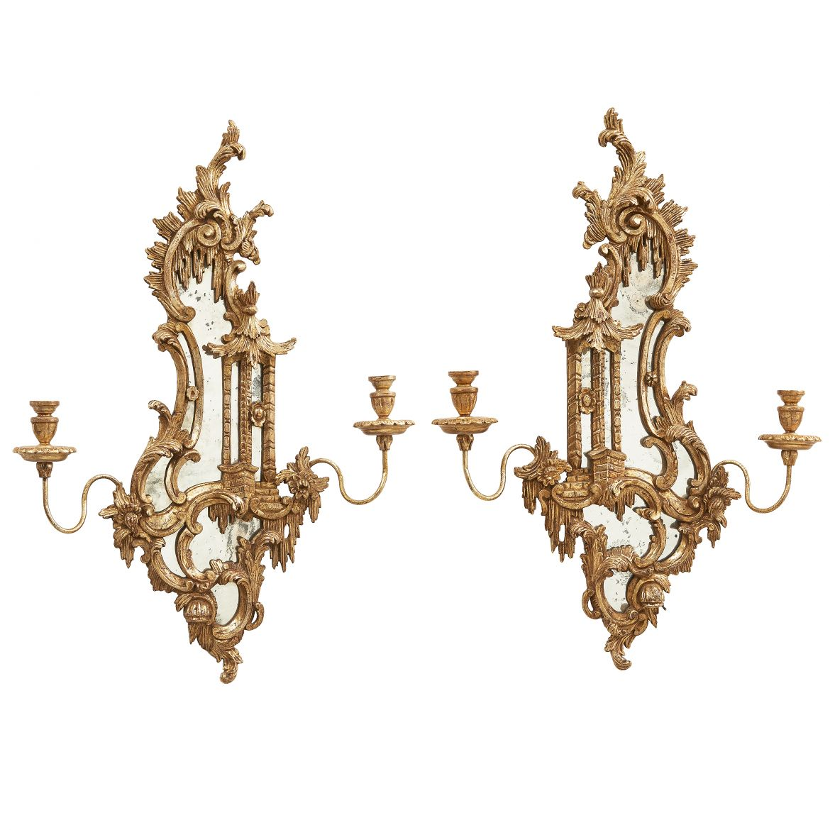 Mirrored 'Pagoda' Sconces